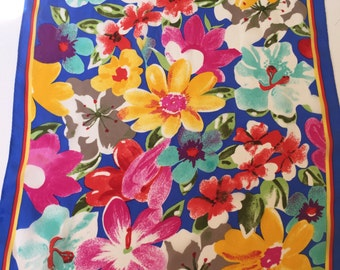 """Silk Scarf ALBERT NIPPON Designer Signed Floral Multicolor 15"""" by 57"""" Long Ladies Accessory"""