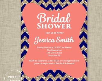 Navy Coral Gold Invite Bridal Shower Invitation Glitter Invite Adult Party Invitation Digital Party Invite JPEG file 2b