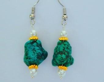 Raw Turquoise Nuggett Earrings,Green Turquoise Earrings,Western Earrings,Southwest Earrings,Wedding Earrings