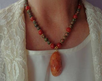 Unakite Necklace Set,Coral Necklace Set,Beaded Necklace Set,Fall Jewelry,Autumn Jewelry,Coral Earrings