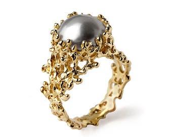 CORAL Gold Pearl Ring, Gray Pearl Ring, Pearl Engagement Ring, Large Pearl Ring, Pearl Statement Ring, Organic Gold Ring, Ocean Ring