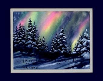 ORIGINAL- NORTHERN LIGHTS; 11 X 14 inches matted, winter landscape, wall art, aurora borealis, Canadian art,