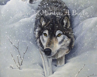 ORIGINAL PAINTING - WOLVES; acrylic, art, wildlife, wilderness, Canadian art, winter, snowing, wolf pack, 16 x 20 inches, stretched canvas