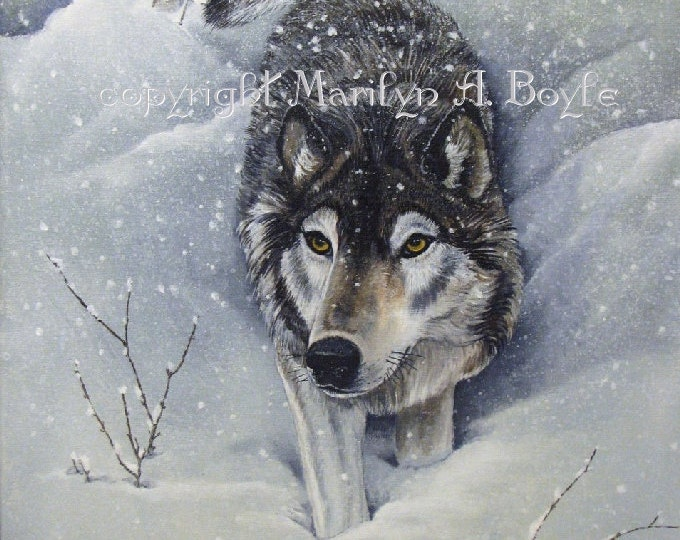 ORIGINAL PAINTING-WOLVES free shipping, acrylic,wildlife, wilderness, Canadian art, winter,snowing,wolf pack,16 x 20 inches,stretched canvas