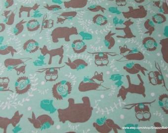 Flannel Fabric - Forest Toile Aqua - 1 yard - 100% Cotton Flannel