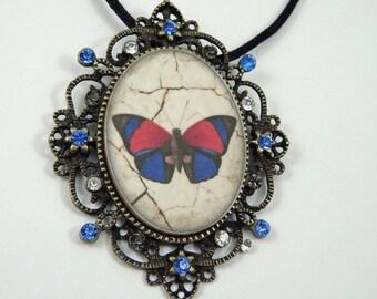 Polymer Clay Pendant. Image Transfer Pendant. Vintage Style Pendant. Butterfly Pendant.