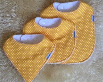 Bibs: Yellow with white dots