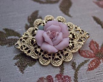 Vintage Pink Porcelain Rose Gold Dainty Classic Filigree Pin