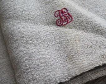 "1870/90 ""hand-woven natural / organic hemp farmers LINEN bed LAKEN /Bedsheet  61inch x 80.7inch "" Vintage red monogram BG ""Weight 1600gram"