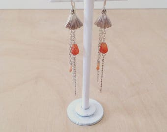 Earrings with Moonstone and carnelian