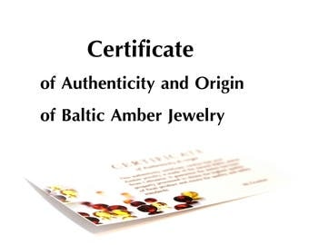 The Certificate of Authenticity and Origin of Baltic Amber Jewelry from BLTAmber Amber with Certificate