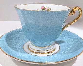 Roslyn Tea Cup and Saucer, English Bone China Tea Cups, Antique Teacups, Gift for Her, Blue Cups, Tea Cups Vintage, Made in England