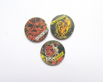 3 Star Wars pin badges made from vintage 1980s comic books - Ewok, Chewie. Accessory gift idea for best friend, boyfriend, comic book fan.