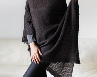 Women ponchos wrap sweater knitted poncho  sweater women ponchos gift for her Christmas poncho brown poncho wool knitted poncho, fall sale