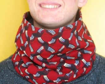 red african fabric cowl scarf, furry fleece lined, boy's accessory, winter snood, wax fabric cowl