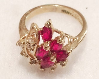 Vintage Ladies Size 5 Gold plated Faux Ruby  & Rhinestone Ring Collectible by Artef Taiwan