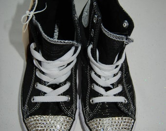 T2 Unisex teen black and silver high top Converse with white rhinestones