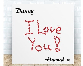 I Love You Message Ceramic Plaque. Personalised Gift