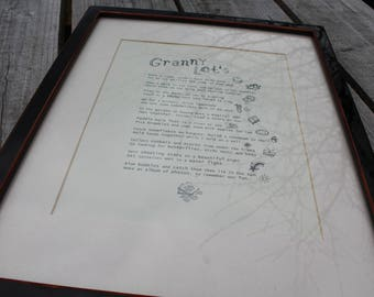 GRANNY BIRTHDAY from child. Gift. A4 Poem Print.  Fun, bucket list in verse of things to do together.