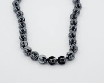 "10mm Pacman Shape Non Magnetic Hematite Bead, 15"" long"