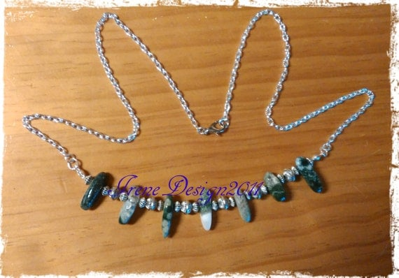Handmade Silver Necklace with Indian Agate by IreneDesign2011