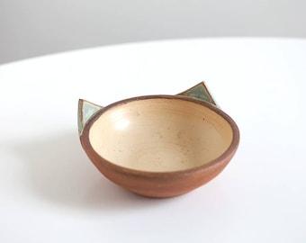 Yellow and green cat food bowl, handmade kitten dish - Ready to ship :)