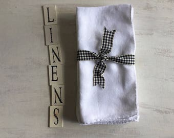 4 Vintage Large White Linen Dinner Napkins