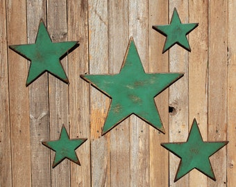Wooden Star Set Of 5 Wood Stars Shabby Wood Star Rustic Star Farmhouse Decor Nursery Decor Distressed Wood Star Primitive Star Mantle Decor