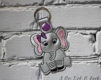 Elephant Cutie - Snap Tab - Key Fob - Embroidery Design -   DIGITAL Embroidery Design