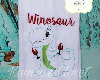 Winosaur - Towel Design - Flour Sack Towel - 2 Sizes Included - Embroidery Design -   DIGITAL Embroidery DESIGN