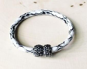 White Snakeskin Leather Cuff Bracelet