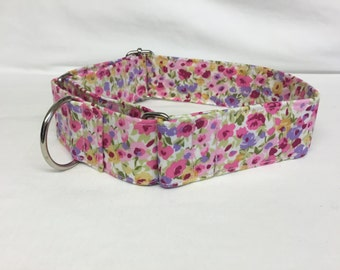 Girly Pink Floral Martingale Dog  Collar