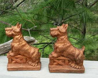 Syroco Scottie Dog Bookends Faux Wood Scotty Book Holders