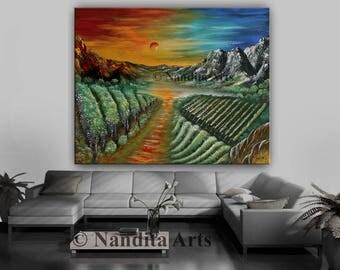 Vineyard Landscape Painting, Green Mounten Scenic Large Art, Sunsets Wall Art Gift for Birthday or Wedding Gift Home Decor - Nandita