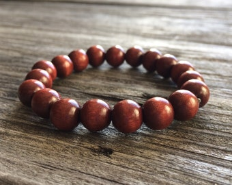 Large Wooden Beads Bracelet, 10mm Mahogany Wooden Bead Bracelet, Beaded Bracelet, Mens Wood Bracelet