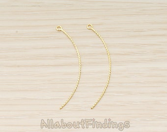 PDT1572-G // Glossy Gold Plated Thin Rope Textured Skinny Curved Long Bar Charm Pendant, 2 Pc