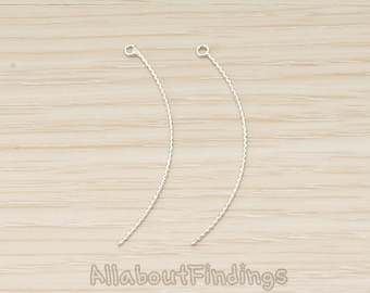 PDT1572-R // Glossy Original Rhodium Plated Thin Rope Textured Skinny Curved Long Bar Charm Pendant, 2 Pc