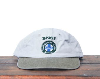 Vintage 90's BNSF Burlington Northern Santa Fe Railroad Freight Train Unstructured Snapback Hat Baseball Cap