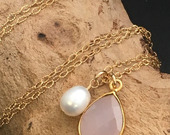 Pink Chalcedony Necklace, Pearl Necklace, Asymmetrical Necklace, Gemstone Necklace, Gold Necklace, Necklaces under 100