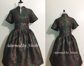 Emerald Jacquard Dress