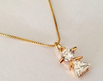 Girl Charm,Baby Charms, 18K gold filled  Girl  cz Pendant