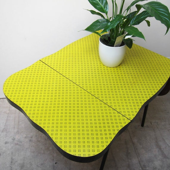 Yellow Formica Kitchen Table Kitsch Mid Century Dining