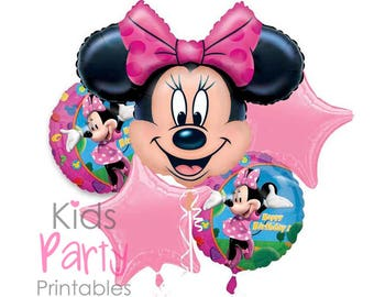 Minnie Mouse Balloons, Minnie Mouse Party Decorations, Minnie Mouse Birthday Decoration, Minnie Mouse Birthday Party Supplies, Bouquet Pink