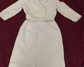 Vintage 1960s White Skirt Suit