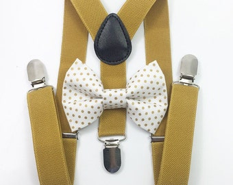 FREE DOMESTIC SHIPPING! Mustard Yellow suspenders  + Small Gold PolkaDot Bow tie toddler kids holidays photos family photoshoot