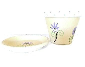 Hand Painted Clay Pot, Plant Pot, Painted Garden Pot, Terra Cotta Pot, Home Decor Pot, Painted Flower Pot, Painted Plant Pot - HAPPINESS