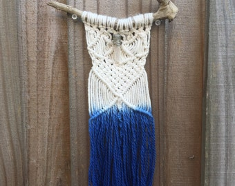 Rustic Dip-Dyed Blue Handmade Macrame Wall Decor with Quartz Crystal and Driftwood