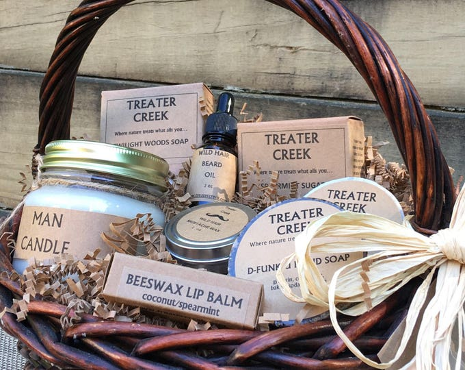 Featured listing image: Man Gift Basket - Mustache - Beard - Wild Hair Groomers - Man Candle