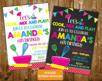 Any Age Printable Chalkboard Let's Cook Mix and Play Girls 7th 8th 9th 10th Birthday Invitation, Cooking Birthday Invitation, Cook invite