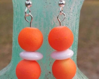 Handmade Orange and White Earrings